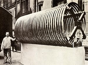 Loading coil - Enormous antenna loading coil used in a powerful longwave radiotelegraphy transmitter in New Jersey in 1912.