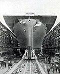 Launch of USS Lunga Point (CVE-94) at Kaiser Shipyards on 11 April 1944.jpg