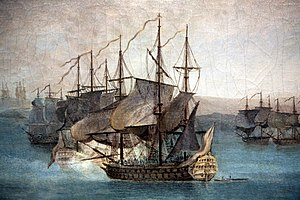 34th (Cumberland) Regiment of Foot - The French fleet at Menorca in 1756