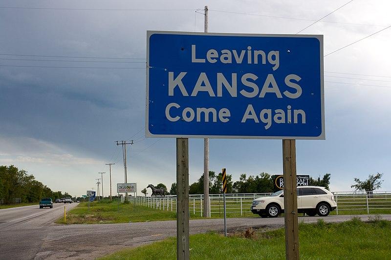 File:Leaving KS sign, Route 66.jpg