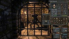 Screenshot of Legend of Grimrock. In the center of image, a monster stands behind the metal bars of a dungeon. On the right, the inventory of a party member.