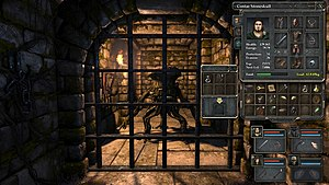 Legend of Grimrock - An in-game screenshot with the open inventory of a party member