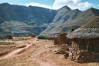 Geography of Lesotho - Malealea village in the highlands of Lesotho
