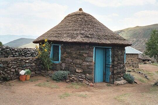 In Lesotho: rondavel stones.