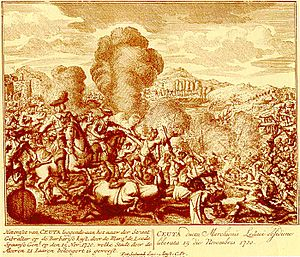 Sieges of Ceuta (1694–1727) - The Marquis of Lede directing the attack on the besiegers.