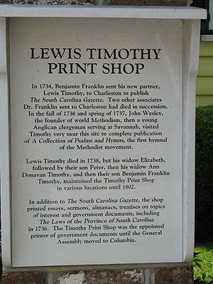 Elizabeth Timothy - Lewis Timothy print shop plaque