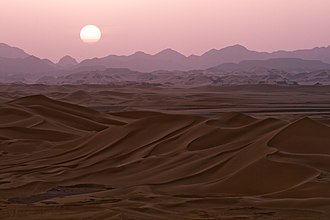 Geography of Libya - Wan Caza sand dunes in the Sahara Desert region of Fezzan.