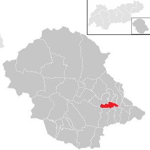 Location of the municipality of Lienz in the Lienz district (clickable map)