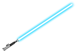 A lightsaber with a blue beam