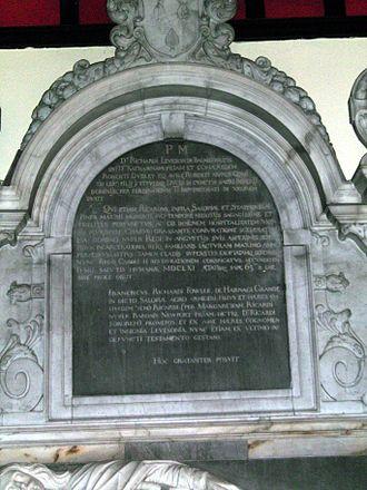 Richard Leveson - Inscription on the Leveson memorial.