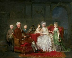Frederick William II of Prussia - Frederick William with his family by Anna Dorothea Lisiewska, ca. 1777, National Museum in Warsaw.