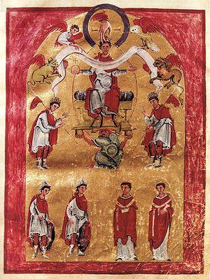 Liuthar Gospels - Emperor Otto III enthroned (fol. 16r)