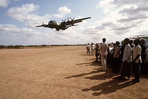 62d Airlift Squadron - A 314th Airlift Wing C-130 Hercules delivers relief supplies to Wajir Airport, Kenya