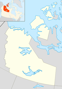 Map of the Northwest Territories in Canada, showing where the Prince Albert impact crater is located.