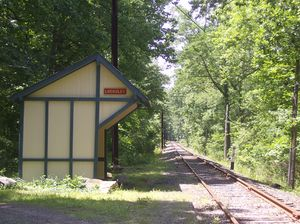 Locksley station (Pennsylvania) - Locksley Station shelter, circa 2010. Pennsylvania Railroad style-signage can be seen adorning the shelter.