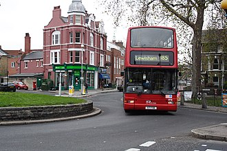 East Thames Buses - Plaxton President bodied Volvo B7TL on route 185 in December 2006