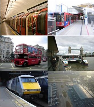 Transport in London - Clockwise from the top right picture: Docklands Light Railway, Thames Clipper, Heathrow Airport, National Rail train at King's Cross station, Routemaster double decker bus, London Underground train