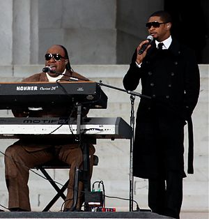 Here I Stand (Usher song) - Stevie Wonder (left) and Usher performing in 2009