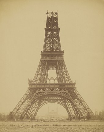 The Eiffel Tower, under construction in November 1888, startled Parisians - and the world - with its modernity. Louis-Emile Durandelle, The Eiffel Tower - State of the Construction, 1888.jpg