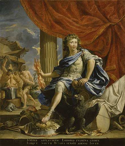 1655 portrait of Louis, the Victor of the Fronde, portrayed as the god Jupiter Louis XIV en Jupiter, vainqueur de la Fronde.jpg