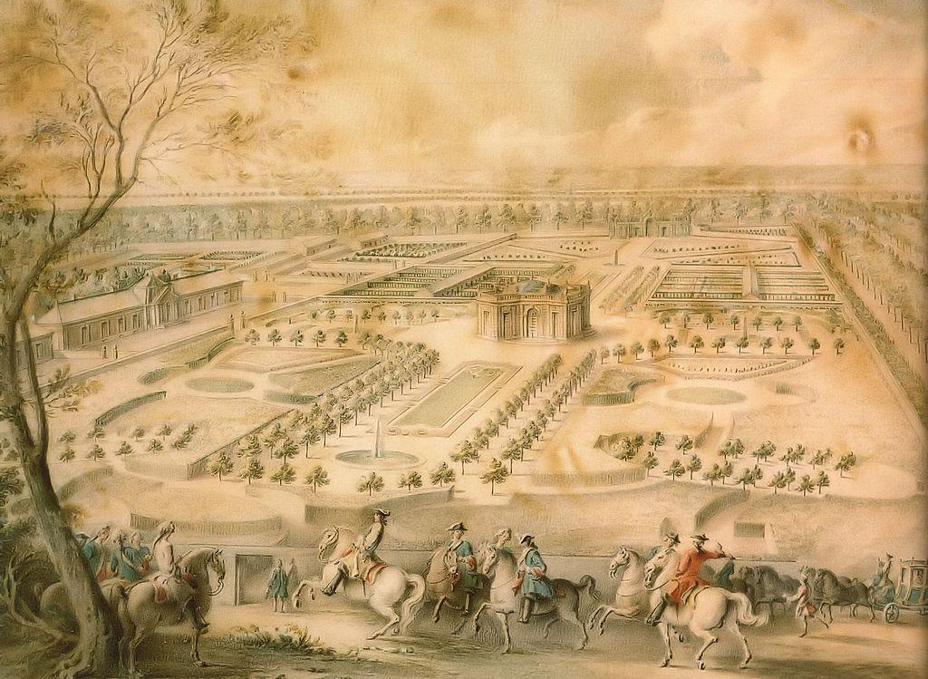 File louis xv en vue des jardins de trianon de la for Jardin francais