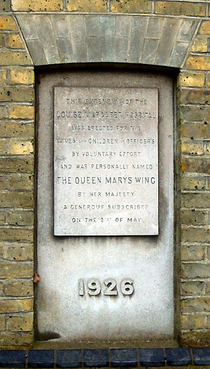 Louise Margaret Hospital - Plaque unveiled by Queen Mary on the Queen Mary Wing in 1926