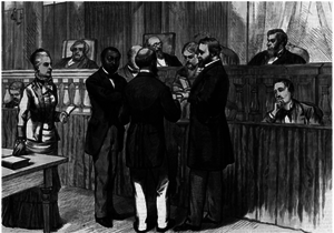 Samuel R. Lowery - Illustration from Frank Leslie's Illustrated Newspaper showing Samuel Lowery's Supreme Court bar admission