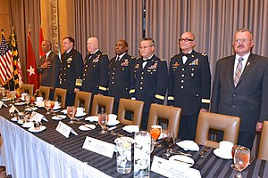 Puerto Rico State Guard - Brigadier General Carlos M. Martínez, commander of the Puerto Rico State Guard, second from the right, attends a State Guard Association conference in October 2015.