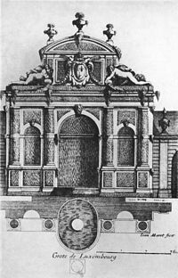 Original design of the Medici Fountain in the Luxembourg Garden  (1660 engraving)