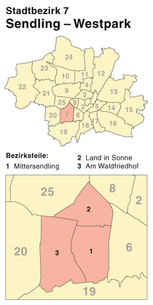Sendling-Westpark - Borough 7 - Sendling-Westpark: Location in Munich
