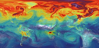 Carbon dioxide in Earth's atmosphere - CO<sub>2</sub> in Earth's atmosphere if half of anthropogenic CO2 emissions are not absorbed. (NASA computer simulation).