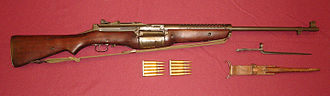 M1941 Johnson rifle - Johnson M1941 Semi-Automatic Rifle with original spike bayonet and leather sheath. The 10-round rotary magazine could be quickly reloaded using two clips of .30 Caliber M2 Ball ammunition.