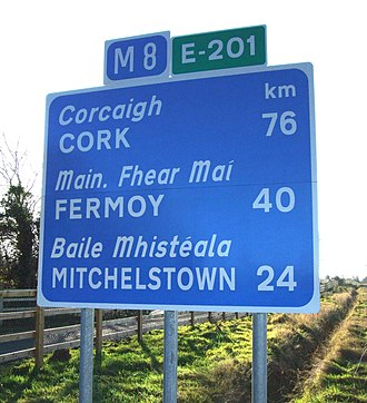 M8 motorway (Ireland) - Route confirmation sign for the M8/E201 at junction 11.