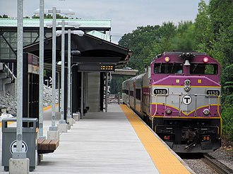 Littleton/Route 495 station - A train at the newly rebuilt station in July 2013