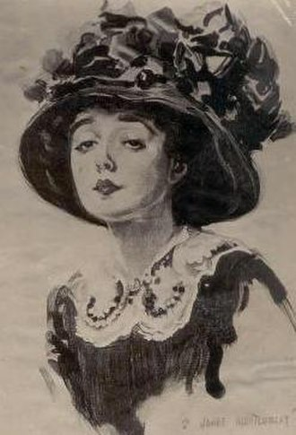 Peach basket hat - Actress Mabel Normand in a peach basket hat. Sketch by James Montgomery Flagg, 1909