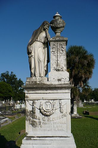 Magnolia Cemetery (Mobile, Alabama) - Neoclassical-style statuary monument for Eliza Bleecker.