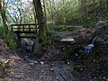 Malá Chuchle, ústí Mariánského pramene do potoka, lávka.jpg