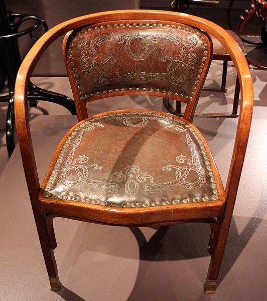 File manifattura jacob josef kohn gustav siegel sedia for Sedia antica con braccioli