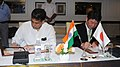 Manish Tewari and the Japanese Minister of Economy, Trade & Industry, Mr. Toshimitsu Motegi, signing a Joint Statement, in New Delhi on September 12, 2013.jpg