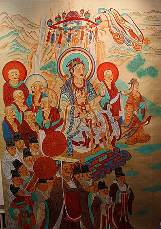 Wang Wei (Tang dynasty) - Manjusri Debates Vimalakirti, copy of a painting from the Dunhuang Mogao Caves
