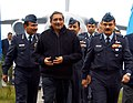 Manohar Parrikar accompanied by the Chief of the Air Staff, Air Chief Marshal Arup Raha and the Air Officer Commanding-in-Chief , Western Air Command, Air Marshal S.S. Soman, during his visit to the Air Force Station Hindan.jpg