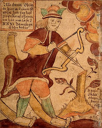 Ullr - Illustration from an 18th-century Icelandic manuscript shows Ullr on his skis and with his bow.
