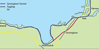 Malvik - Map of the tunnels from Malvik to Stjørdal