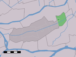 The village centre (dark green) and the statistical district (light green) of Goudriaan in the former municipality of Graafstroom.