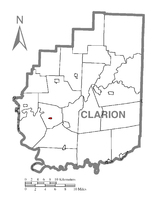 Map showing Callensburg in Clarion County