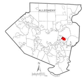 Map of Churchill, Allegheny County, Pennsylvania Highlighted.png