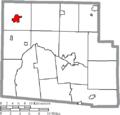 Map of Hardin County Ohio Highlighting Ada Village.png