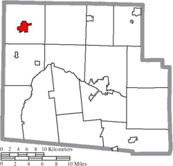 Location of Ada in Hardin County