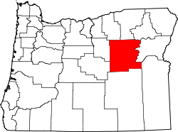 map of Oregon highlighting Grant County