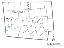 Map of Bradford County with Sylvania highlighted